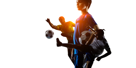 Photo pour Abstract soccer theme - hottest match moments - image libre de droit