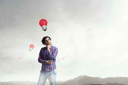 Photo for Man thinking and seeking new idea concept - Royalty Free Image