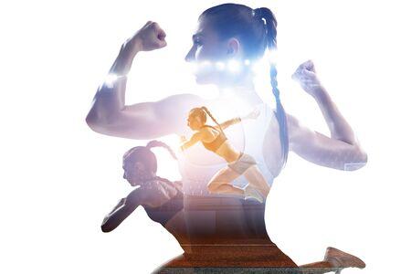 Photo pour Abstract concept of running young sportswoman - image libre de droit
