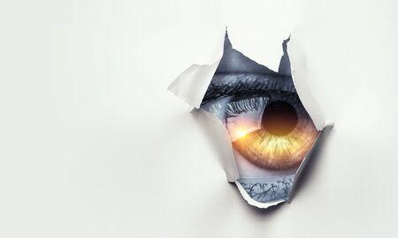 Foto de Hole in wallpaper. Mixed media - Imagen libre de derechos