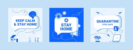 Illustrazione per Modern templates about quarantine. Stay home safe icons with text box, speaker, virus, cat, computer and plant - Immagini Royalty Free