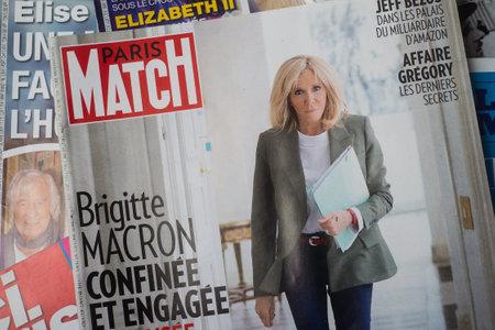 Foto de Mulhouse - France - 26 May 2020 - Closeup of Brigitte Macron the french first lady on Paris Match magazine cover - Imagen libre de derechos