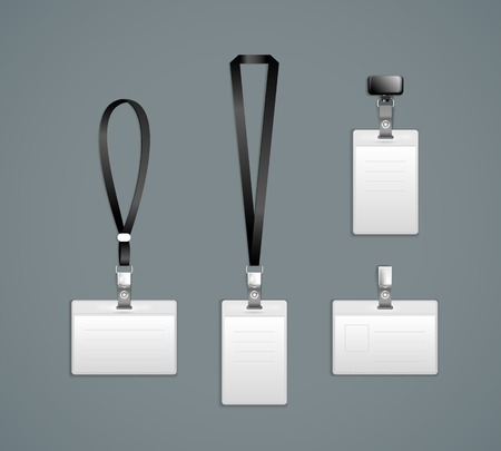 Ilustración de Lanyard, retractor end badge templates Vector Illustration - Imagen libre de derechos