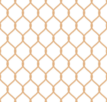 Illustration pour Rope marine net pattern seamless vector on white background - image libre de droit