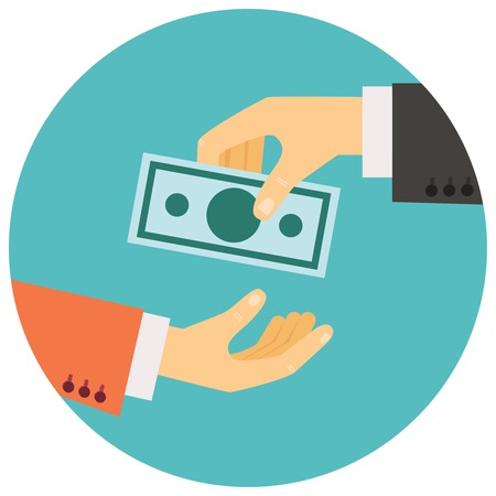 Illustration pour vector illustration in retro style, hand giving money to other hand - image libre de droit