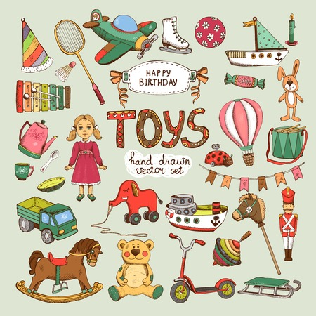 Illustration pour happy birthday toys set: pinwheel balloon elephant horse - image libre de droit
