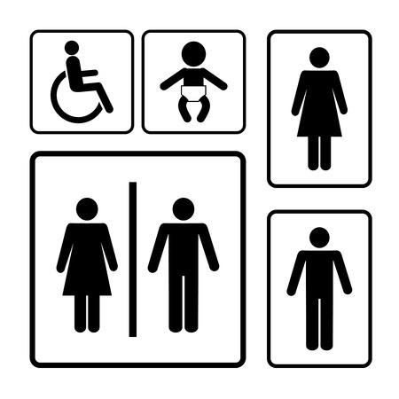 restroom vector signs black silhouettes on white background