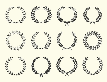 Illustration for large set of silhouettes laurel wreaths on white background vector illustration - Royalty Free Image