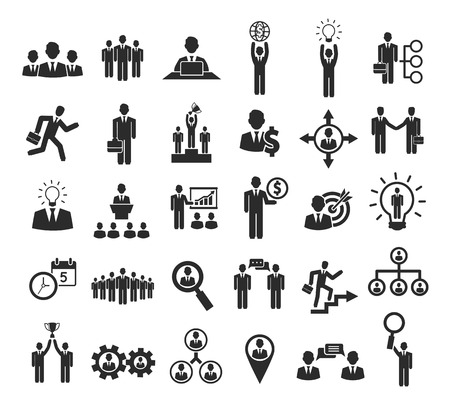 Illustrazione per Business people icons: management, staff, conference and move on to success - Immagini Royalty Free