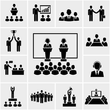 Illustration pour Vector silhouette business conference and presentation icons, meeting people - image libre de droit