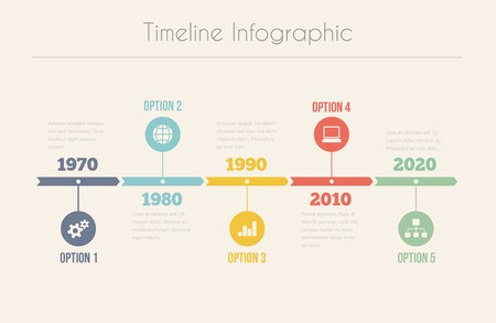 Illustration pour Retro Timeline Infographic, Vector template for design - image libre de droit