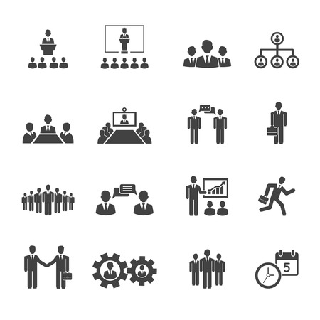 Illustration pour Business people meetings and conferences vector icons showing  training  presentations  conference table  leadership  teamwork  groups  discussion  brainstorming  handshake  deadline and schedule - image libre de droit