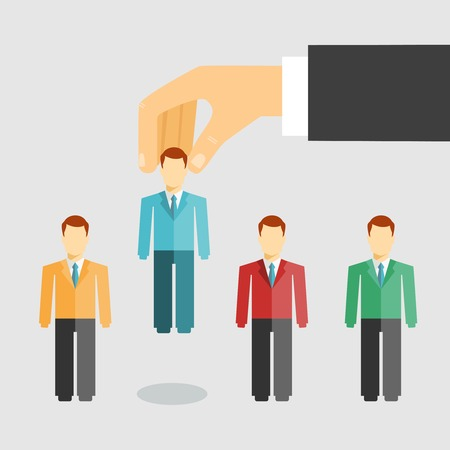 Illustration pour Vector illustration conceptual of human resources management with a businessman selecting a candidate from job applicants for hiring  promotion or dismissal - image libre de droit