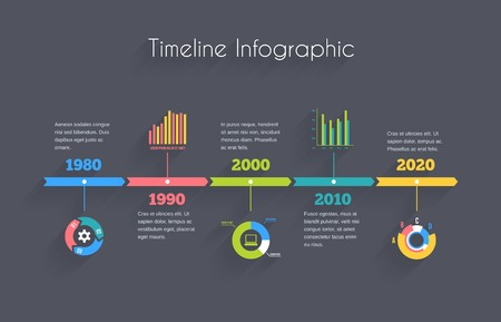 Illustration pour Vector Timeline Infographic template with charts and text - image libre de droit