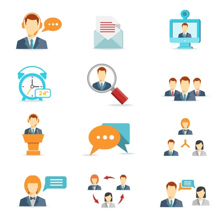 Ilustración de Business online, communication and web conference icons in flat style - Imagen libre de derechos