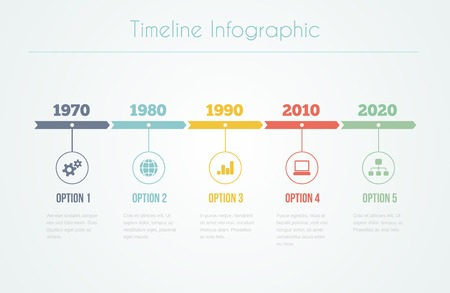 Illustration pour Timeline Infographic with diagrams and text in retro style - image libre de droit