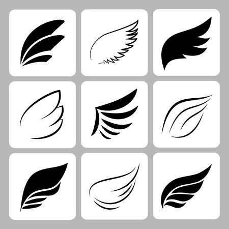 Illustration pour wings set on white background, vector eps10 illustration - image libre de droit