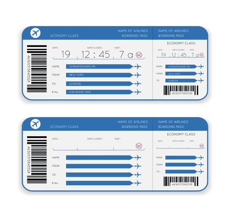 Illustration pour vector airline boarding pass ticket isolated on white background - image libre de droit