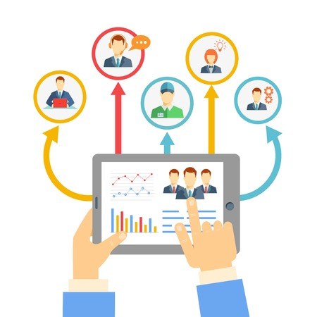 Illustration pour Remote business management concept with a businessman holding a tablet showing analytics and graphs connected to a diverse team of people on a conferencing video link for brainstorming and discussion - image libre de droit