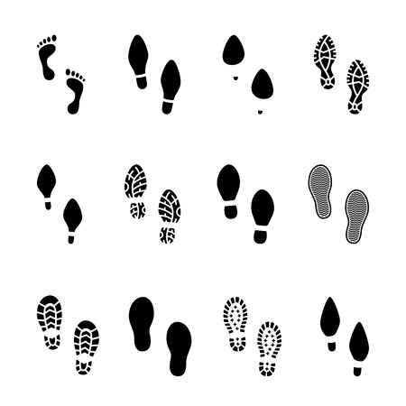Ilustración de Set of footprints and shoeprints icons in black and white showing bare feet and the imprint of the soles with the differing patterns of male and female footwear with shoes  boots and high heels - Imagen libre de derechos
