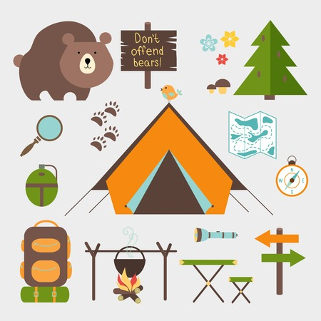 Illustration pour Vector icons forest camping set with a pine or fir tree  bear  map  tent with open flaps  rucksack or backpack  campfire  compass  water bottle  magnifying glass  paw prints  signpost  torch  table - image libre de droit