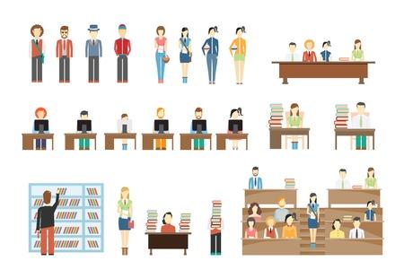 Illustration pour Students at University - image libre de droit