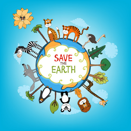 Illustration pour Save The Earth concept with a variety of wild animals surrounding the perimeter of a globe or planet with interspersed fresh green trees for nature conservation   hand-drawn illustration - image libre de droit