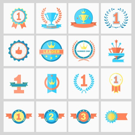 Illustration for First Place Badges and Winner Ribbons vector illustration - Royalty Free Image