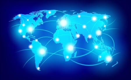 Photo pour World map with glowing points - image libre de droit