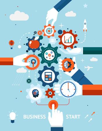 Illustration pour Business and entrepreneurship business start - image libre de droit