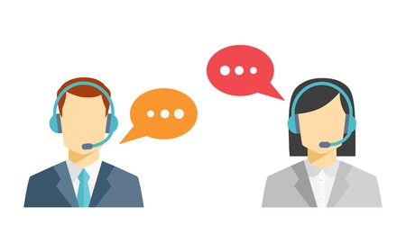 Photo pour Male and female call center avatar icons - image libre de droit