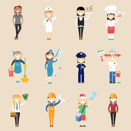 Illustration pour Girl characters in professional clothing - image libre de droit