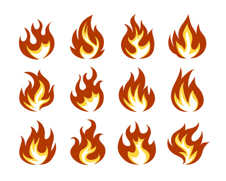 Illustration for Vector Fire Flame Icon Set in Flat Style  Isolated on White Background. - Royalty Free Image