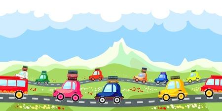 Photo pour Rural road with a line of tourist traffic - image libre de droit