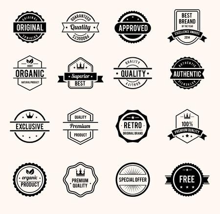 Illustration pour Black and White Retro Badges - image libre de droit