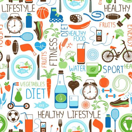 Ilustración de Sport, Diet and Fitness pattern - Imagen libre de derechos