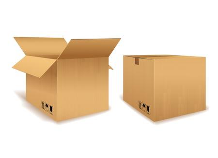 Illustration pour Open and Closed Cardboard Box - image libre de droit