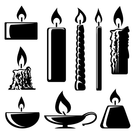 Illustration for black and white silhouette burning candles - Royalty Free Image