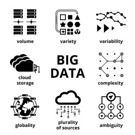 Ilustración de Big data icons - Imagen libre de derechos