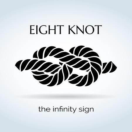 Illustration pour Black and White Rope Eight Knot - image libre de droit