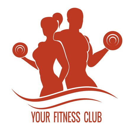 Ilustración de Fitness logo with muscled man and woman silhouettes. Man and woman holds dumbbells. Vector illustration - Imagen libre de derechos