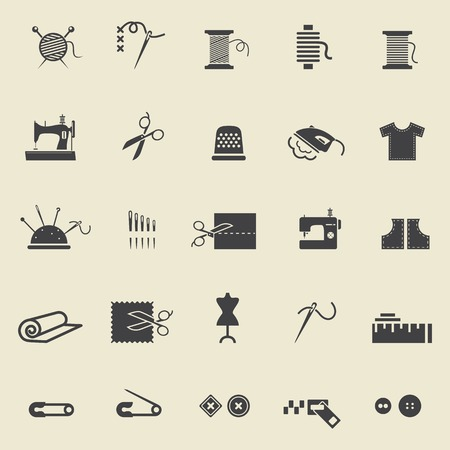 Ilustración de Sewing equipment and needlework. Black icons for sewing, knitting, needlework, pattern. Small device. Vector illustration - Imagen libre de derechos