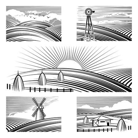 Ilustración de Retro rural landscapes. Set in rural landscapes painted black lines. Vector illustration - Imagen libre de derechos