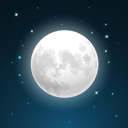 Ilustración de Full moon and stars - Imagen libre de derechos