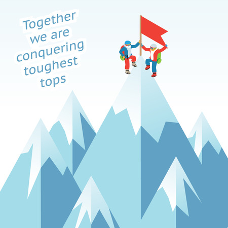 Illustration pour Synergy concept. Business mountain climbing in partnership - image libre de droit