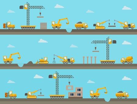 Photo pour Vector seamless horizontal  background with construction icons - image libre de droit