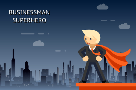 Ilustración de Businessman superhero over night city - Imagen libre de derechos