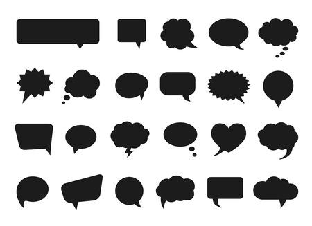 Illustration pour Talk and think vector comics bubbles silhouettes - image libre de droit