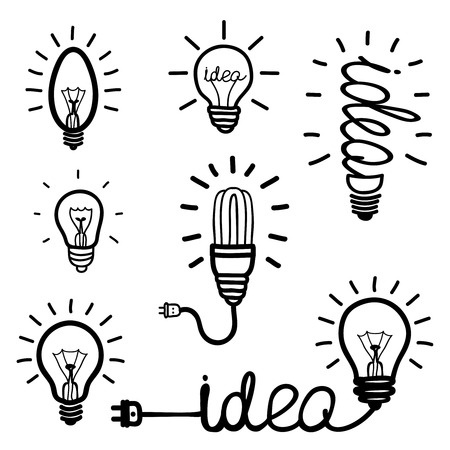Illustration pour Hand drawn light bulb icons - image libre de droit