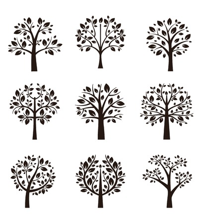 Illustration for Tree silhouette with roots and branches - Royalty Free Image
